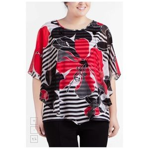 Alfred Dunner Tops - Alfred Dunner Plus Size Floral-Print Poncho Top